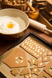 Preparations for baking gingerbread cookies Royalty Free Stock Photos