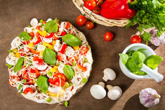 Preparations for baking pizza royalty free stock image