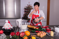 Preparations for the christmas bakery in the kitchen Stock Images