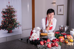 Preparations for the christmas bakery in the kitchen Royalty Free Stock Photography