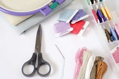 Preparations for embroidery (Cross-Stitch) Royalty Free Stock Photography