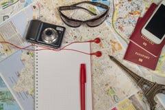 Preparations for  journey. Passport, camera glasses Stock Photos