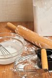 Preparations for making fresh dough for baking goods Royalty Free Stock Image