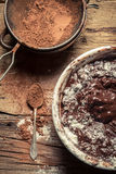 Preparations for making homemade chocolate with nuts Stock Image