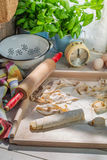 Preparations for pasta made of fresh ingredients Stock Photography