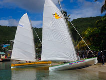 Preparations for a race using traditional caribbean dinghies Royalty Free Stock Photos