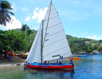 Preparations for a race using traditional caribbean dinghies Stock Image