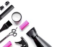 Preparations for styling hair on white background top view Royalty Free Stock Images