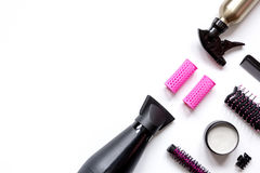 Preparations for styling hair on white background top view.  Stock Photo