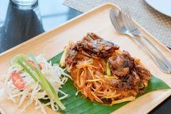 Preparato della tagliatella di alimento tailandese Fotografie Stock Libere da Diritti