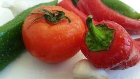 Preparazione antiossidante della cucina prodotti freschi bagnati di cadute dell'aglio del pepe del pomodoro dei bio- stock footage
