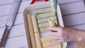 Preparazione dei cannelloni del formaggio e degli spinaci: riempimento dei cannelloni con il materiale da otturazione del formagg archivi video