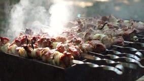 Preparazione del barbecue saporito della carne sugli spiedi video d archivio