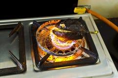 Preparazione del bharta indiano di Brijal di cucina Immagine Stock