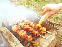 Preparazione del kebab di Shish Fotografie Stock Libere da Diritti