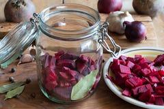 Preparazione del kvas della barbabietola - bietole rosse fermentate Immagine Stock