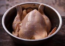 Preparazione del pollo farcito immagine stock