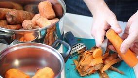 Preparazione del succo di carota video d archivio