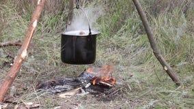 Preparazione dell'alimento su fuoco di accampamento nel campeggio selvaggio archivi video