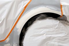 Preparazione dell'automobile per il particolare di job della vernice Immagini Stock