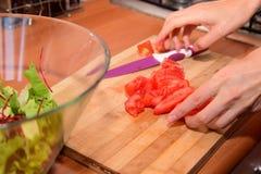 Preparazione dell'insalata fresca immagini stock
