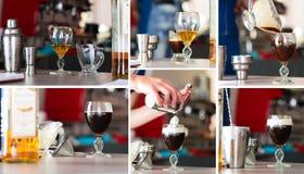 preparazione dell'irish coffee, collage fotografia stock