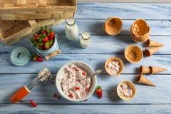 Preparazione della crema casalinga del gelato alla frutta Fotografie Stock