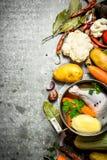 Preparazione della minestra di pollo fragrante con gli ortaggi freschi Immagini Stock Libere da Diritti