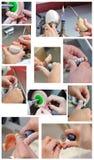 Preparazione dentale del modello dell'innesto della cera in laboratorio fotografia stock libera da diritti