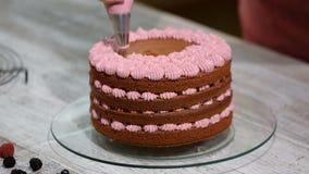 Preparazione facendo il dolce di cioccolato con le bacche La mano del ` s della donna decora il dolce video d archivio