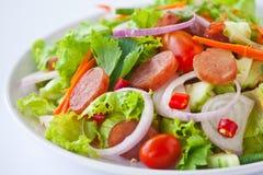 Preparazione piccante-acida dell'insalata tailandese della salsiccia Immagine Stock