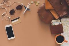 Preparazioni di viaggio, fondo di pianificazione di vacanza Fotografie Stock Libere da Diritti