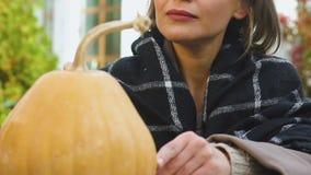 Preparazioni di vigilia di Halloween della famiglia, zucca di disegno della presa-o-lanterna di signora all'aperto stock footage
