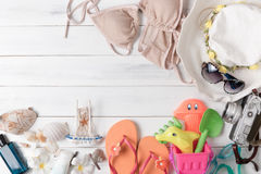 Prepare accessories and travel items for kid Royalty Free Stock Photo
