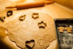 Prepare baking Christmas cookies Royalty Free Stock Images