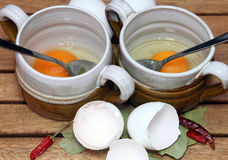 Prepare broth with egg Royalty Free Stock Images