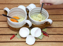 Prepare broth with egg Stock Images