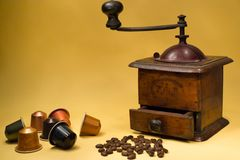 Prepare coffee. How it has changed the way of making coffee, from the grinder to the capsules Royalty Free Stock Images