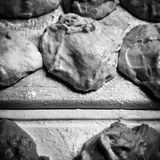 Prepare donuts. Artistic look in black and white. Royalty Free Stock Photo