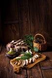 Prepare dried mushrooms. A Prepare dried boletus mushrooms stock image