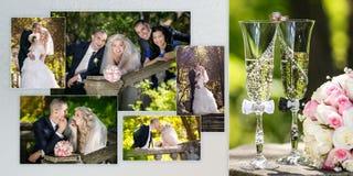 Prepare e a noiva e o melhor homem com a testemunha durante a caminhada em seu dia do casamento imagens de stock