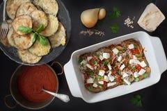 Prepare Eggplant Parmigiana Royalty Free Stock Images