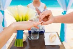 Prepare el donante de un anillo de compromiso a su novia debajo del deco del arco fotos de archivo