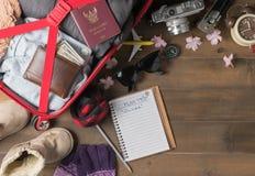 Prepare el viaje del invierno y los artículos del viaje de los accesorios Imagen de archivo