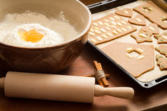 Prepare gingerbread cookies for Christmas Stock Images
