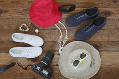 Prepare items for a trip. Background Royalty Free Stock Images