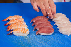 Prepare japanese sushi rolls Stock Photography