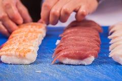Prepare japanese sushi rolls Stock Photos