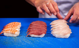 Prepare japanese sushi rolls Royalty Free Stock Photography