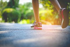 Jogging with sports shoes on holiday For health and beauty. And fat reduction. stock image